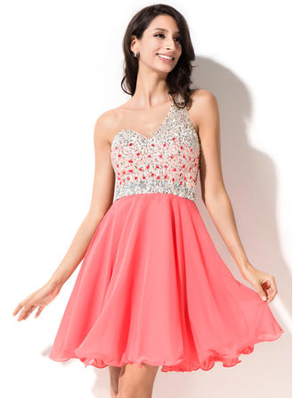 A-Line/Princess One-Shoulder Short/Mini Chiffon Homecoming Dresses With Beading Sequins