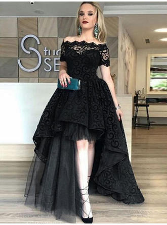 Newest Tulle Evening Dresses A-Line/Princess Asymmetrical Off-the-Shoulder Short Sleeves