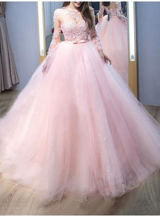 Ball-Gown Scoop Neck Sweep Train Prom Dresses With Lace