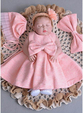 A-Line/Princess Scoop Neck Floor-length Satin Christening Gowns With Bow(s)