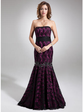 Trumpet/Mermaid Strapless Sweep Train Evening Dresses With Beading Bow(s)