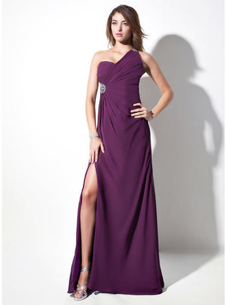 Sheath/Column One-Shoulder Sweep Train Evening Dresses With Ruffle Beading Split Front