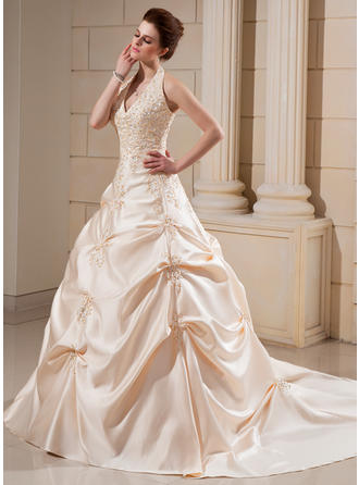 Ball-Gown Satin Sleeveless Halter Cathedral Train Wedding Dresses