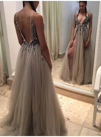 A-Line/Princess Sweep Train Prom Dresses V-neck Tulle Sleeveless