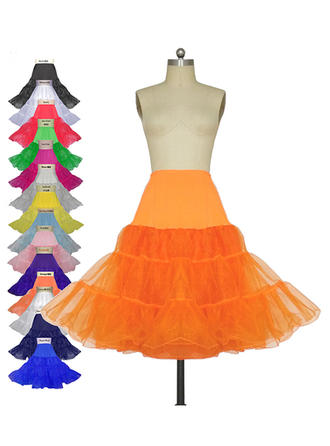 Petticoats Knee-length Tulle Netting/Lycra A-Line Slip 3 Tiers Petticoats