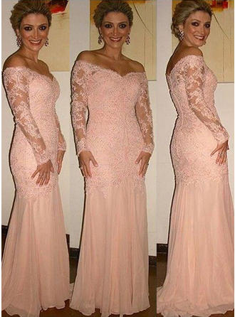 Trumpet/Mermaid Chiffon Lace Long Sleeves Off-the-Shoulder Sweep Train Zipper Up Mother of the Bride Dresses
