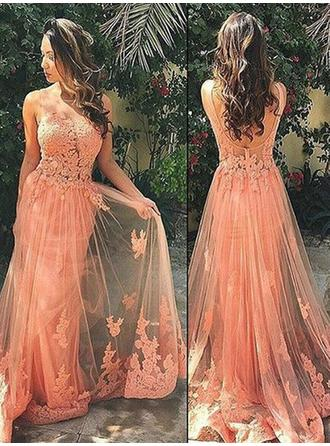 A-Line/Princess Sweep Train Prom Dresses Scoop Neck Tulle Sleeveless