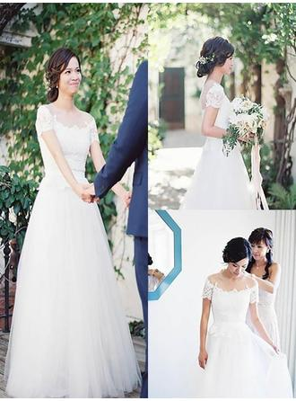 A-Line/Princess Tulle Short Sleeves Off-The-Shoulder Sweep Train Wedding Dresses