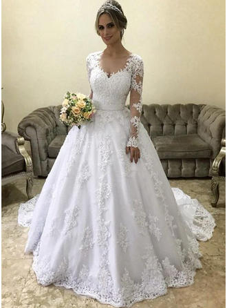 Ball-Gown V-neck Court Train Wedding Dresses With Appliques Lace