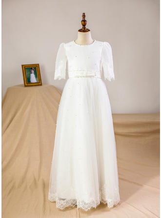 A-Line/Princess Floor-length Flower Girl Dress - Organza/Tulle 3/4 Sleeves Scoop Neck With Beading