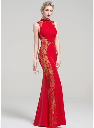 Trumpet/Mermaid High Neck Floor-Length Satin Lace Prom Dresses With Beading Sequins